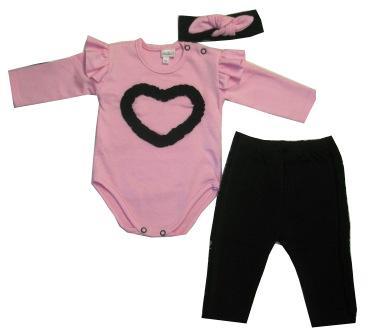 Súprava bavlnená ružová   čierna body+nohavice+čelenka - Falbanka 82a53d19d0e