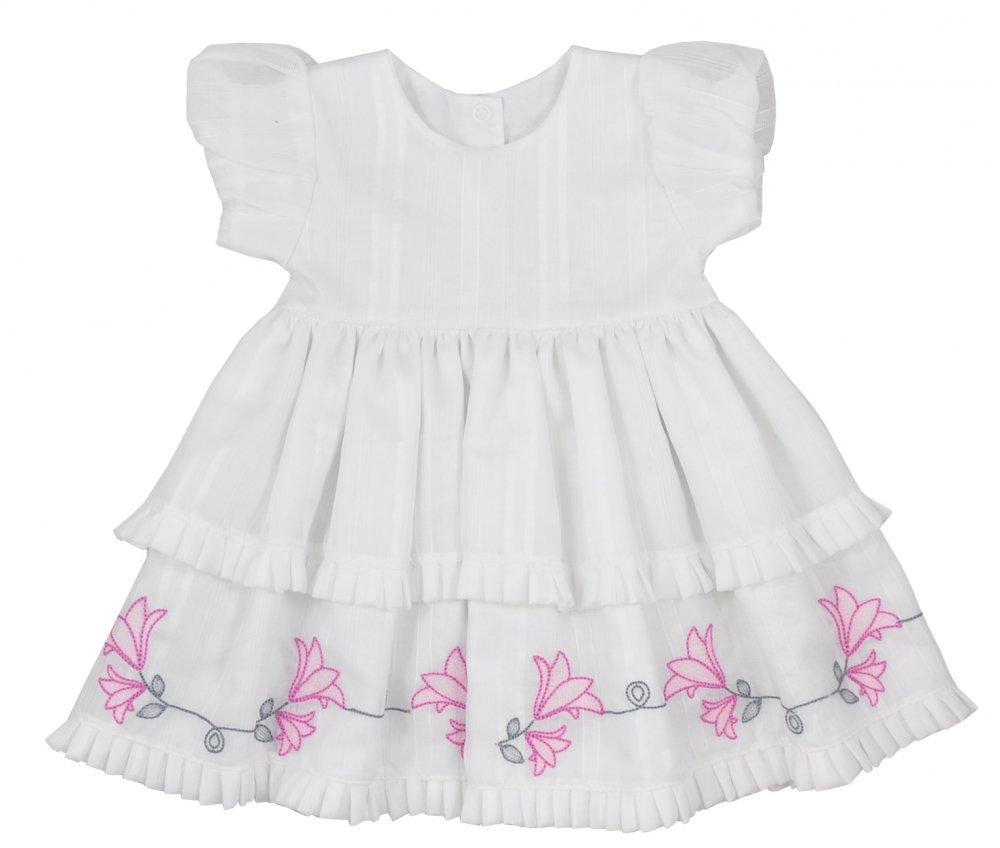 5496c86309e1 Letné bavlnené šaty s kr. rukávom biele -Zvončeky