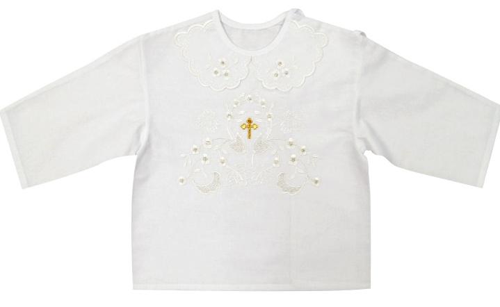 e79409b26 Košieľka na krst biela / zlatá výšivka - Richelieu
