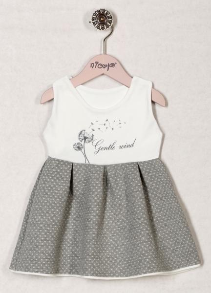 46918925e905 Teplé šaty bez rukávov sivé   smotanové Nicol - kolekcia Púpava