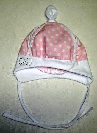 f43e845f5 Letná šatka / čiapka pre novorodenca ružová / biele guličky, obv. hlavy 36  cm