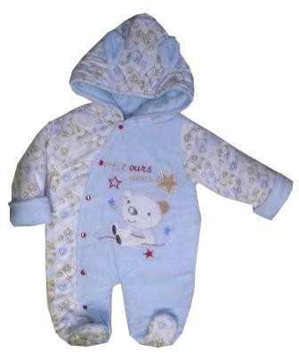 Zimná kombinéza s kapucňou biela   sv. modrá - Medvedíky 8e9c3ae20d8