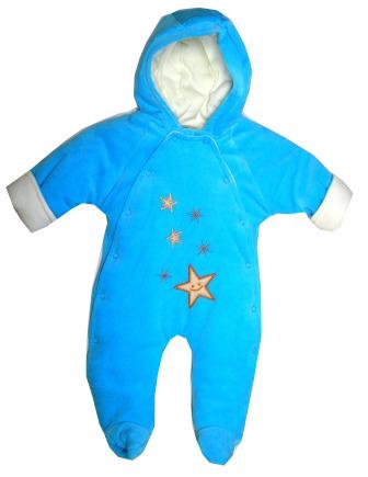Zimná kombinéza s kapucňou tyrkysová - Hviezdičky 6e5138812ca