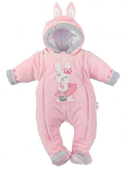 27aca3606 Zimná kombinéza s kapucňou sv. ružová - Little Bunny, veľ. 56, 62