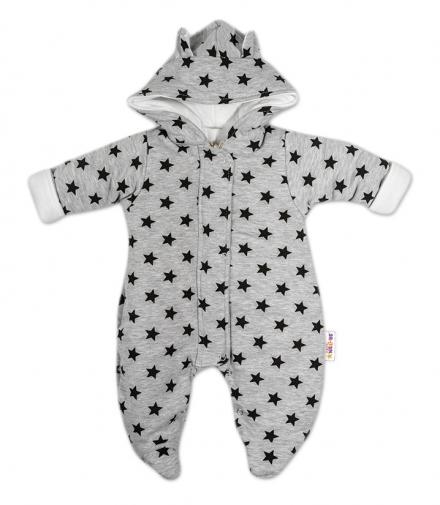 Zimná kombinéza s kapucňou sivá   tm. modré hviezdičky 153b7c1c3a0