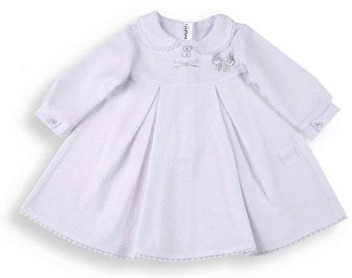 Biele bavlnené šaty do krstu s golierom LADY - Minetti 4b076f5094b