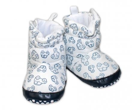 276ffbfa985a Zimné čižmičky YO biele - modré autíčka