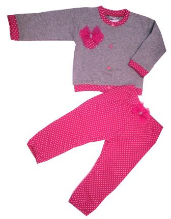 Súprava bavlnená sivá   ružová nohavice + mikina - Bodka ec74778f609