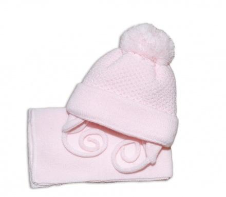 a01aa55c0 Zimná čiapočka so šálom ružová, veľ. 2-8 mesiacov