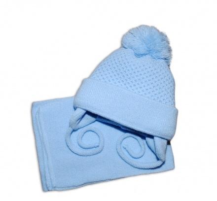 77e9d9872 Zimná čiapočka so šálom modrá, veľ. 2-8 mesiacov