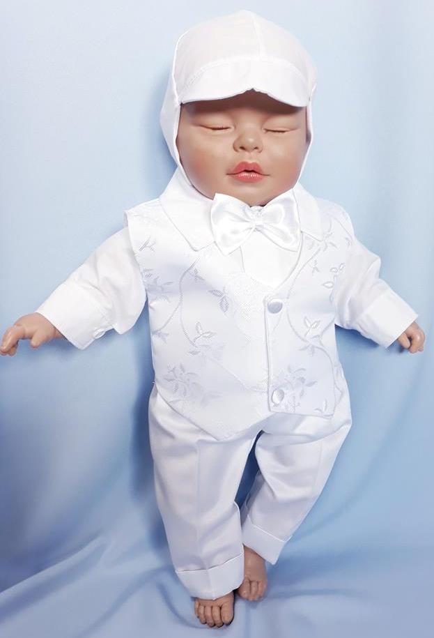 2bfcf1c77 5 dielna sada do krstu saténová - batistová biela pre chlapca, veľ.