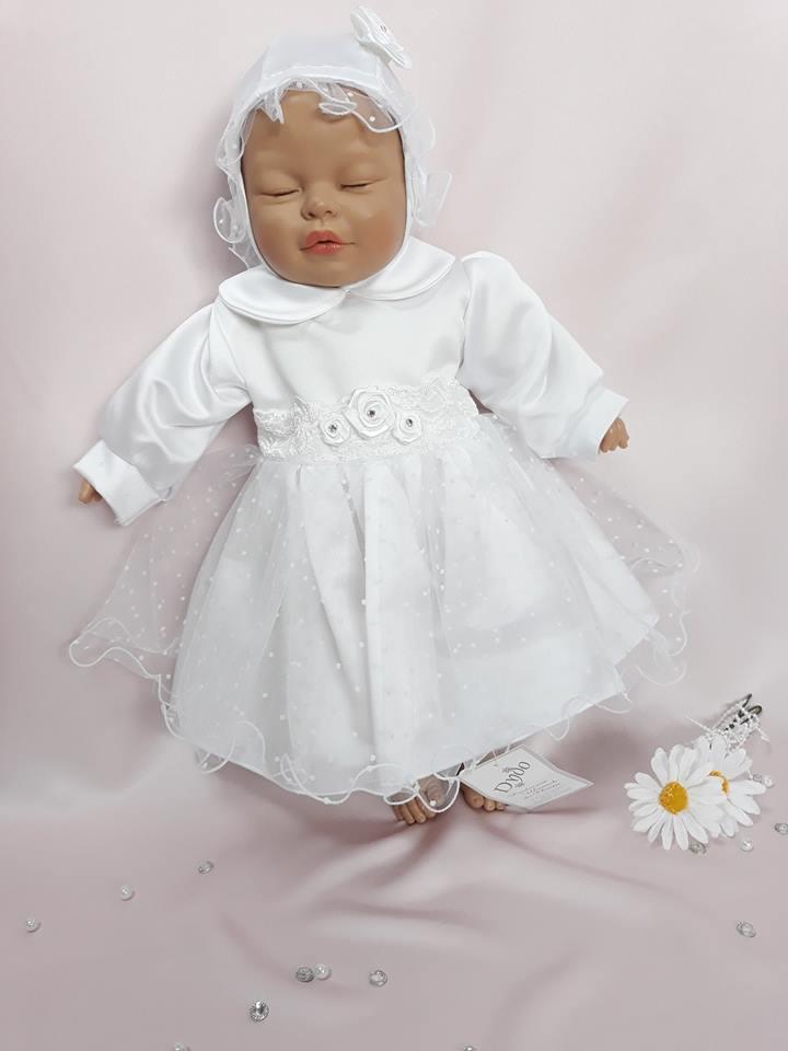 99f66aa3284f Biele šaty saténové s tylovou sukničkou + čepček