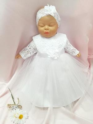 f10bd4b9a Šaty do krstu biele s tylovou sukničkou + čelenka, veľ. 56, 62,