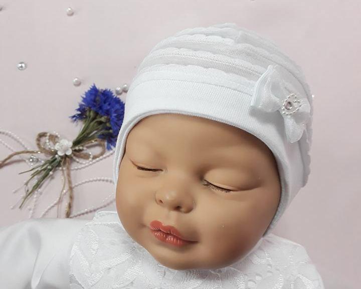ce57132c3 Čiapka pre bábätko na viazanie biela bavlna, obvod hlavy 42