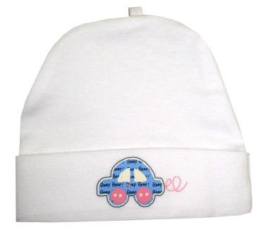 778772ba2 Čiapka pre novorodenca Smurf biela, obv. hlavy 34/36 - modré autíčko