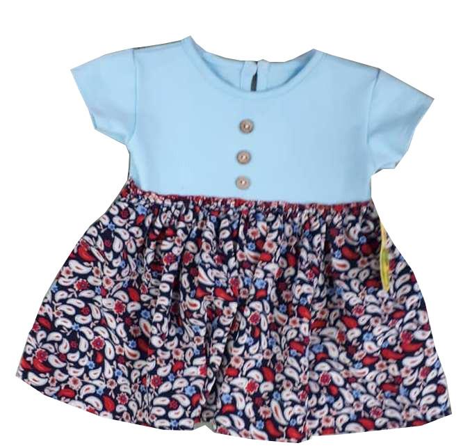 bea191772ce5 Letné bavlnené šaty modré s kvietkovanou sukničkou veľ. 98