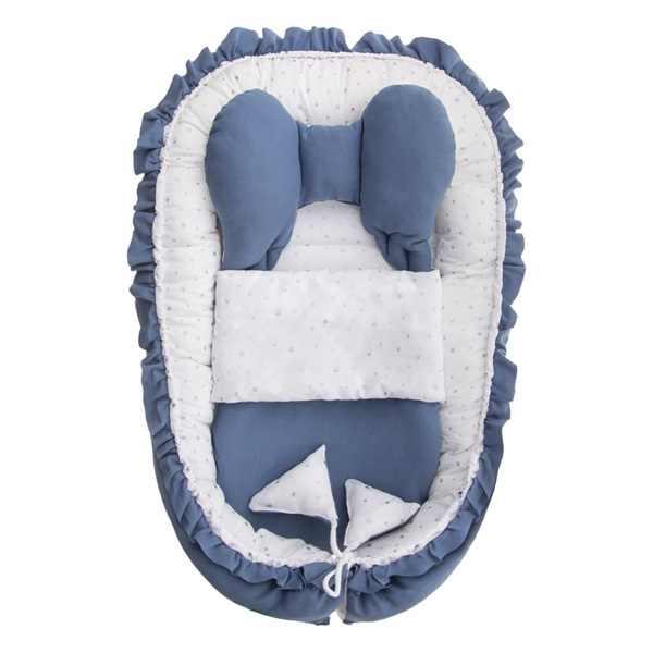 43956d516e94 Obojstranné hniezdočko (kokon) pre novorodenca Belisima modré   biele s  perinkou a vankúšom